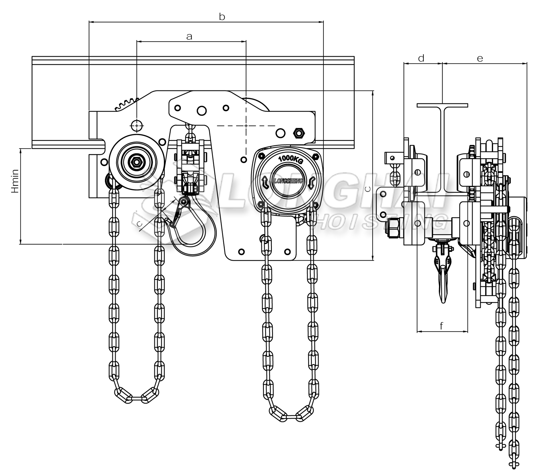 Size of Ultra Low Headroom Manual Chain Hoist with Germany Style